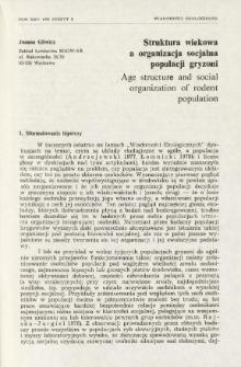 Struktura wiekowa a organizacja socjalna populacji gryzoni