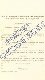 Sur le domaine d'existence des intégrales de l'équation p + f(x,y,z)q + g(x,y,z)