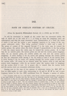 Note on certain systems of circles