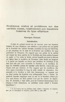Problèmes mixtes et problèmes sur des variétés closes, relativement aux équations linéaires du type elliptique