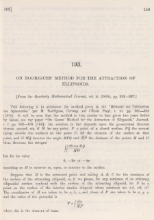 On Rodrigues' method for the attraction of ellipsoids