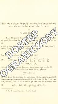 Sur les suites de polynômes, les ensembles fermés et la fonction de Green)