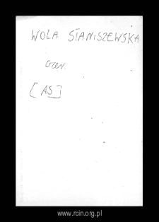 Wola Staniszewska. Files of Czersk district in the Middle Ages. Files of Historico-Geographical Dictionary of Masovia in the Middle Ages