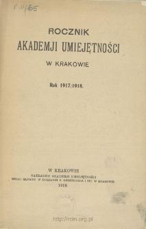 Rocznik Akademji Umiejętności w Krakowie, Rok 1917/1918