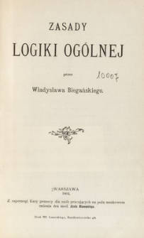 Zasady logiki ogólnej