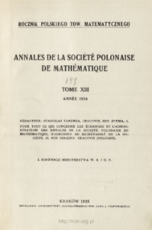 Annales de la Société Polonaise de Mathématique T. 13 (1934), Table of cocntents and extras