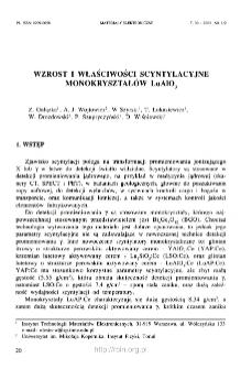 Wzrost i właściwości scyntylacyjne monokryształów LuAlO3 = Growth and scintillation properties of LuAlO3 crystals