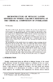 Microstructure of metallic layers sintered on nitride ceramics depending of the chemical composition of interlayers