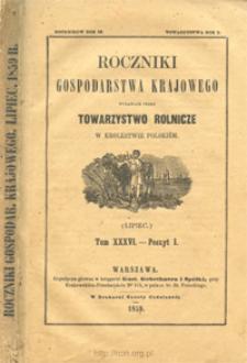 Roczniki Gospodarstwa Krajowego T. 36 z. 1 (1859)