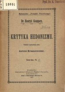 Krytyka hedonizmu