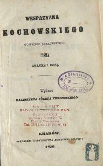 Wespazyana z Kochowa Kochowskiego Epigramata polskie, po naszemu: Fraszki