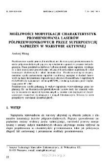 Możliwości modyfikacji charakterystyk promieniowania laserów półprzewodnikowych przez superpozycję naprężeń w warstwie aktywnej