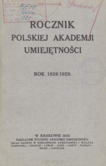 Rocznik Towarzystwa Naukowego Krakowskiego z Uniwersytetem Jagiellońskim Połączonego. Rok 1928/1929