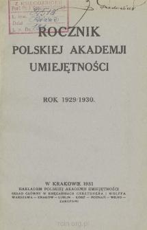 Rocznik Towarzystwa Naukowego Krakowskiego z Uniwersytetem Jagiellońskim Połączonego. Rok 1929/1930