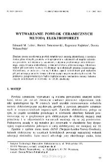 Wytwarzanie powłok ceramicznych metodą elektroforezy = Ceramic layers made by electrophoresis