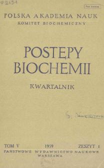 Postępy biochemii, Tom V, Zeszyt 1, 1959