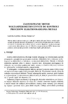 Zastosowanie metod woltamperometrycznych do kontroli procesów elektroosadzania metali =