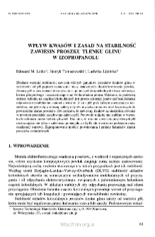 Wpływ kwasów i zasad na stabilność zawiesin proszku tlenku glinu w izopropanolu = Influence of Acids and baises on stability of alumina powder suspensions in isopropanol