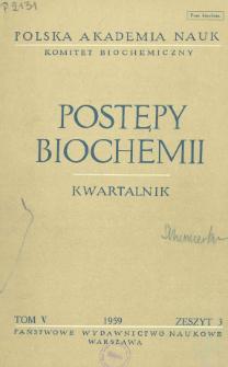 Postępy biochemii, Tom V, Zeszyt 3, 1959