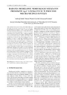 Badania modelowe morfologii mieszanin proszków Ag-C uzyskanych w procesie mechanicznej syntezy