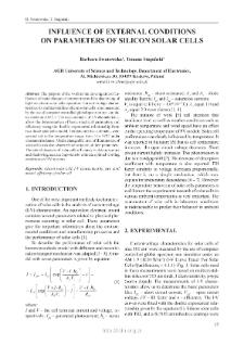 Influence of external conditions on parameters of silicon solar cells = Wpływ warunków zewnętrznych na parametry krzemowych ogniw słonecznych