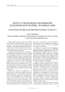 Instytut Technologii Materiałów Elektronicznych (ITME) - wczoraj i dziś. Laboratorium Charakteryzacji Materiałów Wysokiej Czystości =