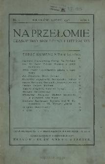 Na Przełomie : czasopismo społeczne i literackie 1916 N.1
