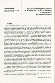 Enzymatyczna synteza estrów w środowisku rozpuszczalników organicznych. Wybrane zagadnienia