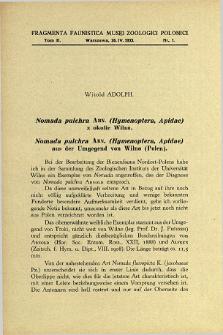Nomada pulchra Arn. (Hymenoptera, Apidae) aus der Umgegend von Wilno (Polen) = Nomada pulchra Arn. (Hymenoptera, Apidae) z okolic Wilna