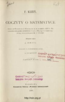 Odczyty o matematyce miane w Evanston od 28 sierpnia do 9 września 1893 r. dla członków kongresu matematycznego, odbytego w czasie wystawy wszechświatowej w Chicago