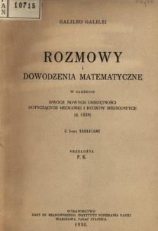 Rozmowy i dowodzenia matematyczne w zakresie dwóch nowych umiejętności dotyczących mechaniki i ruchów miejscowych (r. 1638)