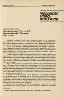 """Seminarium na temat """"Zagospodarowanie Wisły w świetle ochrony środowiska"""" (Warszawa, 26 III 1979 r.)"""