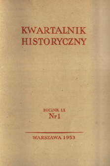 Kwartalnik Historyczny R. 60 nr 1 (1953), Title pages, Contents