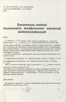 Dynamiczna metoda wyznaczania dwójłomności substancji ciekłokrystalicznych