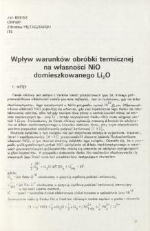 Wpływ warunków obróbki termicznej na własności NiO domieszkowanego Li2O = Influence of the heat treatment conditions on the properties of NiO doped with Li2O
