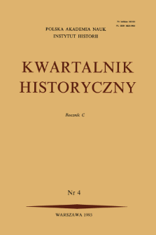 Kwartalnik Historyczny R. 100 nr 4 (1993), Strony tytułowe, Spis treści