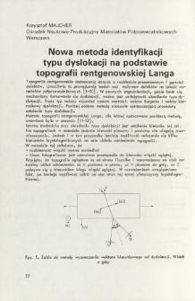 Nowa metoda identyfikacji typu dyslokacji na podstawie topografii rentgenowskiej Langa = A new identification method of the dislocation type based on the Lang topography