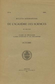 Anzeiger der Akademie der Wissenschaften in Krakau, Philologische Klasse, Historisch-Philosophische Klasse. No. 8 Octobre (1901)