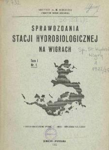 Sprawozdania Stacji Hydrobiologicznej na Wigrach