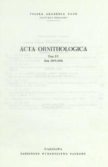 Acta Ornithologica ; t. 15 - Spis treści