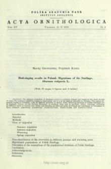 Bird-ringing results in Poland : Migrations of the Starlings, Sturnus vulgaris L.