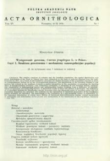 Występowanie gawrona, Corvus frugilegus L. w Polsce. 1 Struktura przestrzenna i mechanizmy samoregulacyjne populacji