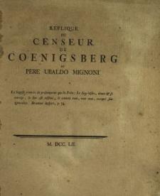 Replique Du Censeur De Coenigsberg Au Pere Ubaldo Mignoni
