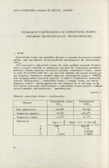 Oznaczanie trójchlorosilanu w czterochlorku krzemu metodami ebuliometryczną i densymetryczną