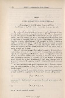 """Sopra equazioni di tipo integrale. """"Proc. of the fifth intern. Congr. of Math. (Cambridge, 22-28 VIII 1912)"""