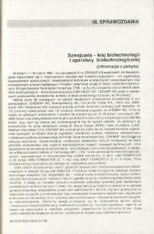 Szwajcaria -- kraj biotechnologii i aparatury biotechnologicznej