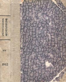 Sprawozdania Archeologiczne T. 14 (1962), Spis treści