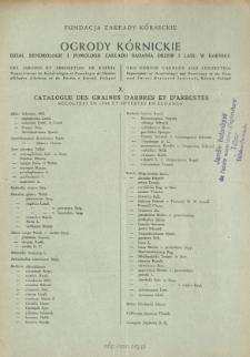 X. Catalogue des graines d'arbres et d'arbustes récoltées en 1948 et offertes en echange