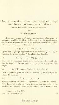 Sur la transformation des fonctions automorphes de plusieures variables
