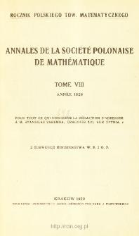 Annales de la Société Polonaise de Mathématique T. 8 (1929), Table of contents and extras